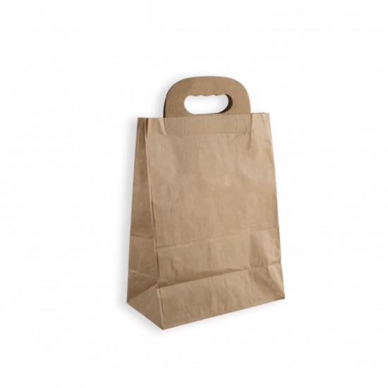 Leather handle and round tote  carton