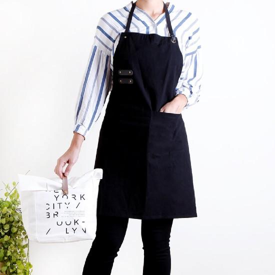 客製圍裙印圖  水洗棉麻PU可調帶圍裙 | 三色