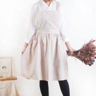 Customized Apron Printed Washed Cotton Hemp Hundred Fold Skirt Apron | Double Pocket | Tricolor