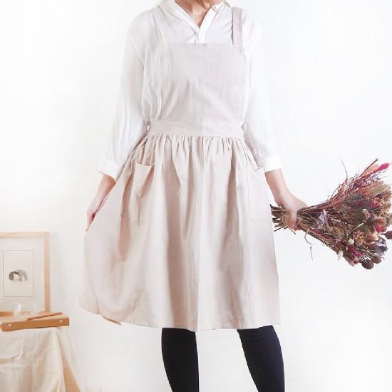 客製圍裙印圖  水洗棉麻百摺裙款圍裙 | 雙口袋 | 三色
