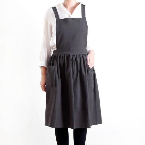 Customized Apron Printed Washed Cotton Hemp Hundred Fold Skirt Apron   Double Pocket   Tricolor