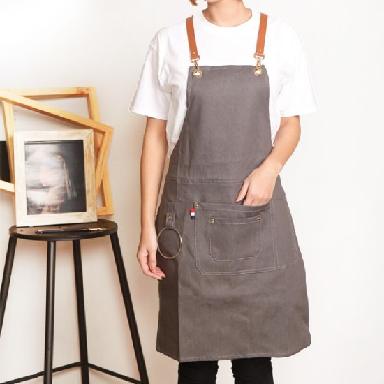Customized apron printed denim apron rings leather apron | ice gray