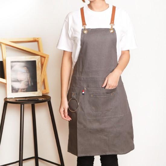 Customized apron printed denim apron rings leather apron | ice gray
