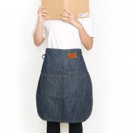 Customized apron printed denim leather half-length apron | two-tone