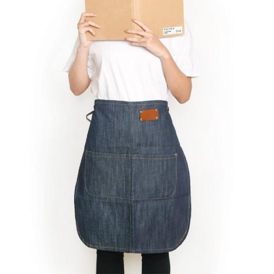 客製圍裙印圖  牛仔真皮半身圍裙| 雙色