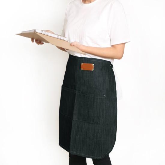 Customized apron printed denim leather half-length apron | two-tone