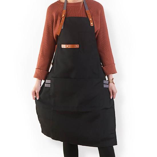 客製圍裙印製 滌帆繞頸織帶皮件圍裙 | 黑色