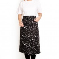 Polyester half-length apron single pocket black white tableware illustration