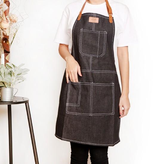客製圍裙印製 厚帆布人工皮繞頸圍裙 | 四色