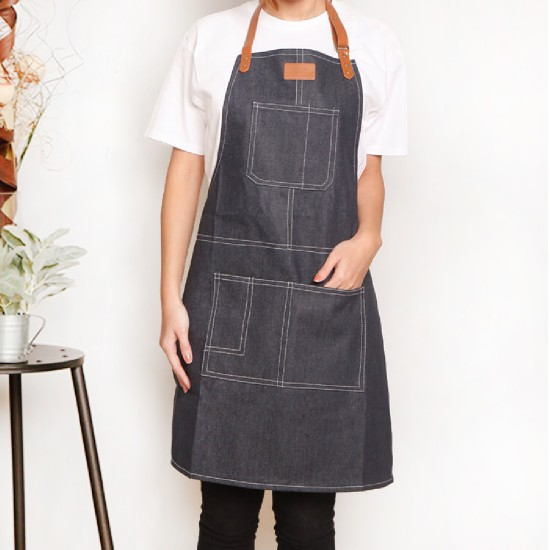 Custom apron printing Thick canvas artificial leather around the neck apron | Four colors